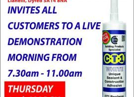 Plumbhut – Llanelli invites all customers to a live CTec products demo morning 24-03-16